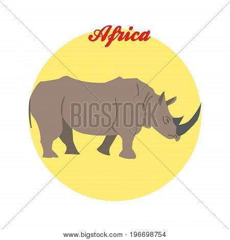 Rhino illustration on the background of the circle with the inscription Africa. Vector.