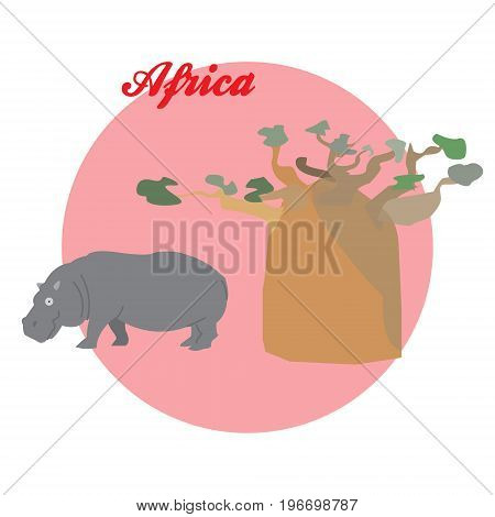 The baobab and the Hippo illustration on the background of the circle with the inscription Africa. Vector.
