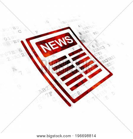 News concept: Pixelated red Newspaper icon on Digital background