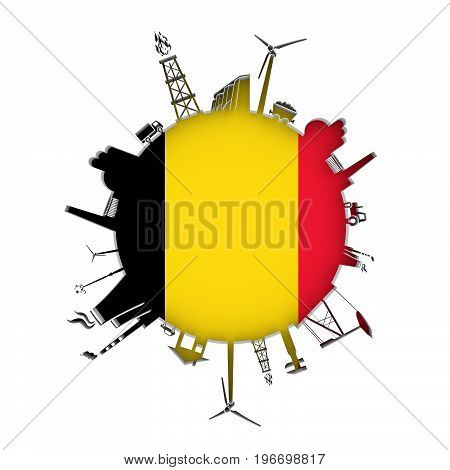 Circle with industry relative silhouettes. Objects located around the circle. Industrial design background. Flag of Belgium in the center. 3D rendering.