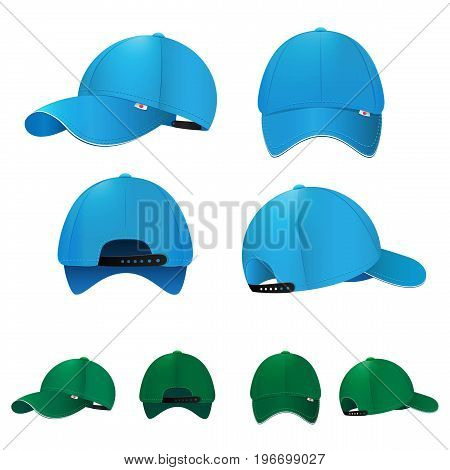 Blank baseball caps in different sides and colors. Vector illustration. Set of cap fashion, baseball sport cap