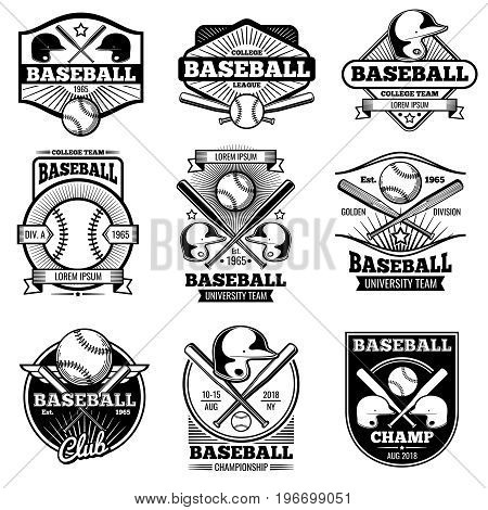 Vintage sports logo design. Retro baseball vector label and badges. Emblem baseball illustration, game logo with ball and bat
