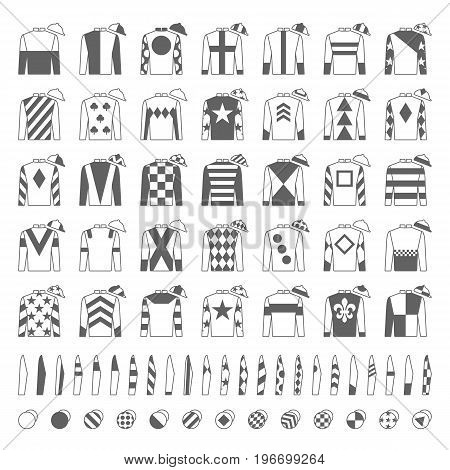 Jockey uniform. Traditional design. Jackets, silks, sleeves and hats. Horse riding. Horse racing. Icons set Isolated on white Vector. Illustration