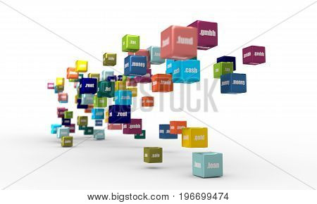 Domain names words on vibrant multicolored plastic reflective cubes. Relative to business and finance theme. Internet and web telecommunication concept. 3D rendering