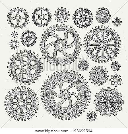 Industrial illustration set of mechanical metal wheels gears and cogwheels. Vector monochrome illustrations. Cogwheel and gear wheel industrial mechanism