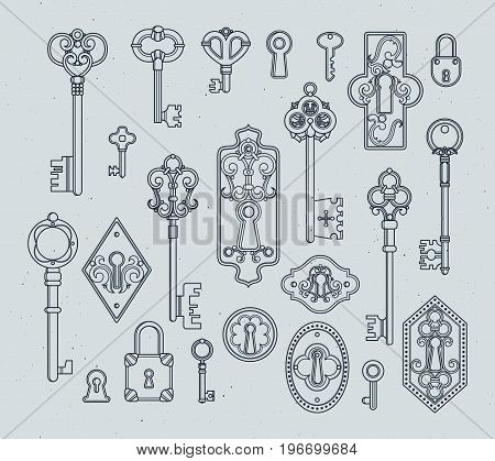 Vintage keys and padlocks for medieval doors. Hand drawn vector illustrations. Antique key vintage in victorian style decoration
