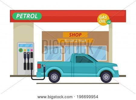 Petrol or diesel station. Vector illustrations in cartoon style. Gas station for car, building petrol station with shop