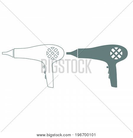 Blow Dryer . Hair Dryer Grey Color Set Icon .