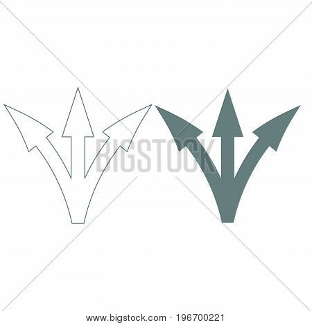 Three Way Direction Arrow Grey Color Set Icon .