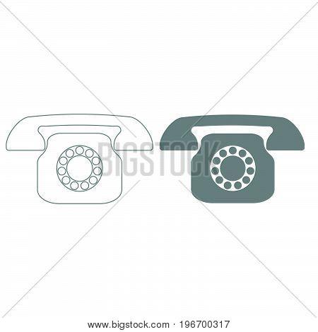 Retro Telephone Grey Color Set Icon .