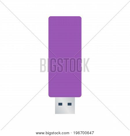 Isolated colored purple usb flash drive on white background. Flat design icon