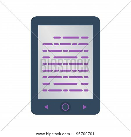 Isolated colored electronic book reader on white background. Flat design icon