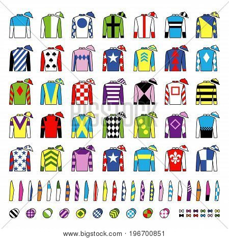 Jockey uniform. Traditional design. Jackets, silks, sleeves and hats. Horse riding. Horse racing. Icons set Isolated on white Vector Illustration