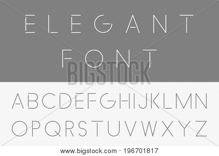 Thin minimalistic font. Vector english alphabet - Elegant design.