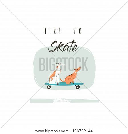 Hand drawn vector cartoon drawing summer time fun illustration poster with riding dogs on skateboards and modern typography quote Time to ride isolated on white background.