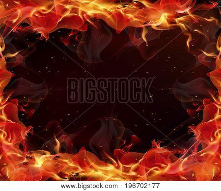 Frame of fire, vector art illustration flame.