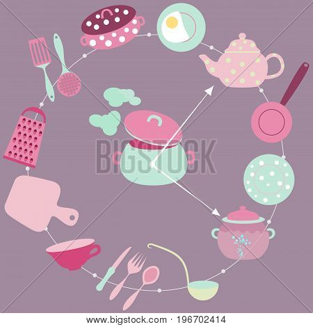 Kitchen Around The Clock Concept with Utensils and Food Placed like a Numbers on the Clocks Dial. Non Stop Working  Housewifes Field of Occupation.