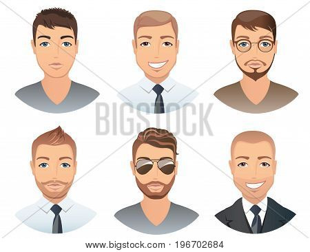 Different hairstyles for men. Collection of male images with beards mustache, glasses, isolated, vector, illustration
