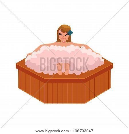 Woman getting foam bath in spa salon, relaxing in big round bathtub, cartoon vector illustration on white background. Woman getting foam bath in spa, front view cartoon illustration