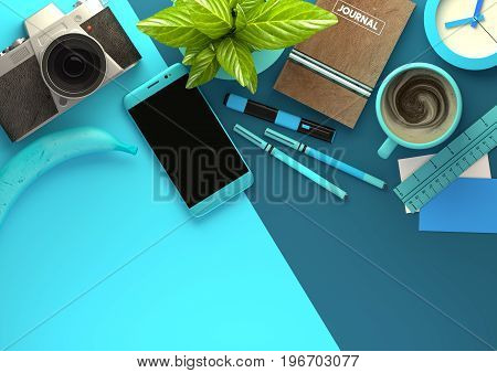 Top down view of modern work space office desk with essentials including coffee office plant mobile device camera food snacks and business tools - in blue. 3D illustration render.