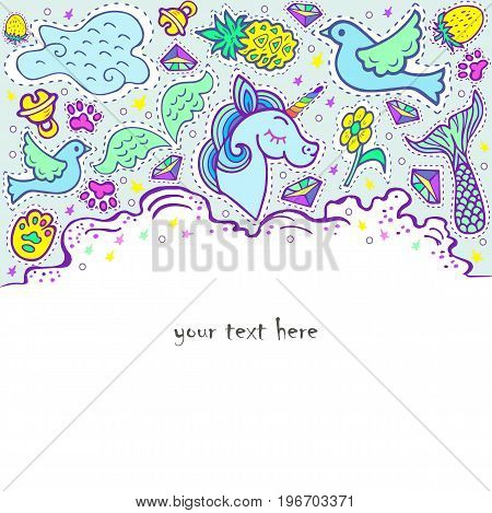 Unicorn party. Text copy frame template. It can be used for invitation, birthday, St. Valentine's Day, greetings, unicorn party, baby birth, good night and sweet dreams card. Vector.