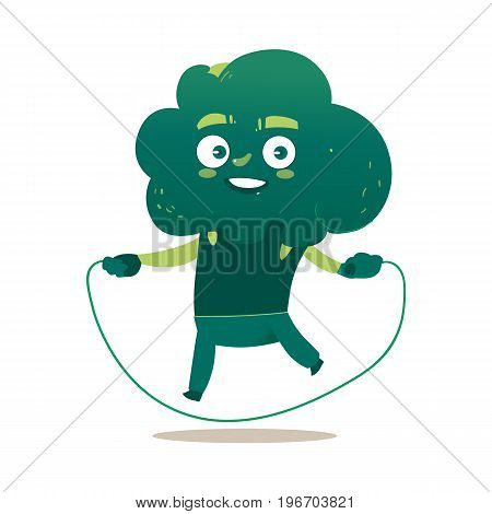 Funny smiling broccoli character doing sport exercises with jumping rope, comic, cartoon vector illustration isolated on white background. Funny broccoli hero, character training with jumping rope