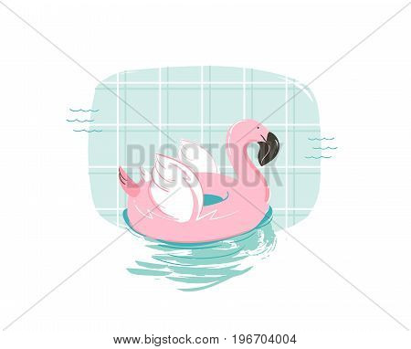 Hand drawn vector abstract cartoon summer time fun illustration with pink flamingo buoy float circle isolated on blue swimming pool background