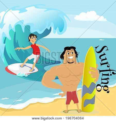 Surfing water extreme sports, isolated design element for summer vacation activity concept, cartoon wave surfing, sea beach vector illustration, active lifestyle adventure.