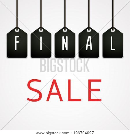 Final sale poster Vector illustration Black tags with the inscription Final sale on a white background Paper art style