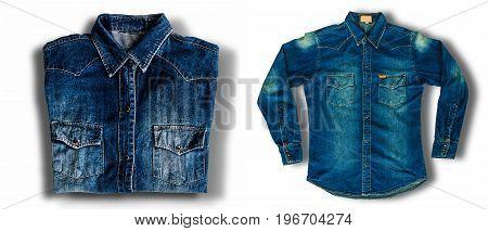 Close up jeans denim jacket isolated on white background