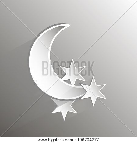 Paper crescent moon and stars, vector art illustration.