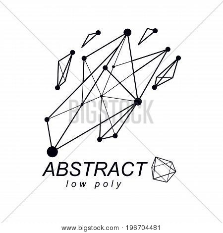 3d origami abstract mesh object vector abstract design element. Innovation technologies abstract logo.