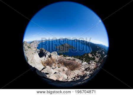 Crater Lake Oregon As Seen From Above With A Fish-eye Lens.