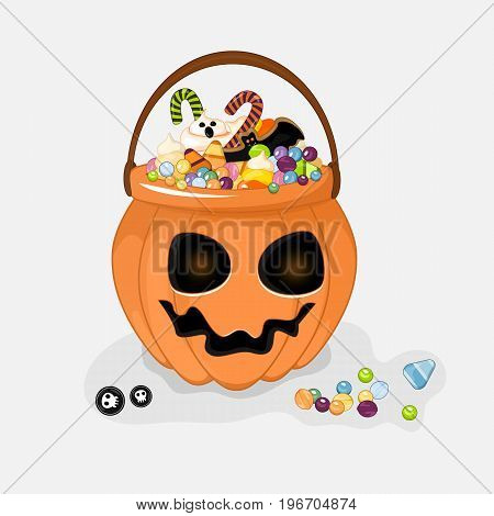 Halloween bucket filled with candy. Isolated white background. Stock vector.