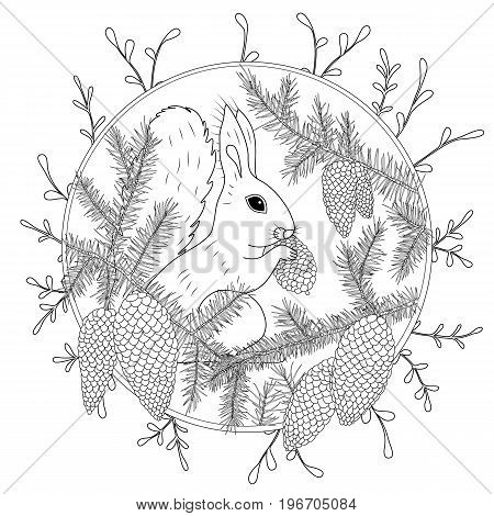 Coloring Page with high details isolated on white background. Vector monochrome sketch. Nature collection.