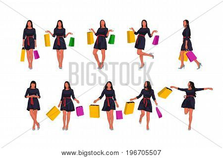 illustration of woman in dress colored with bags in set isolated on white background