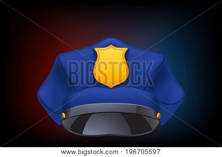 illustration of police cap on dark background with flasher