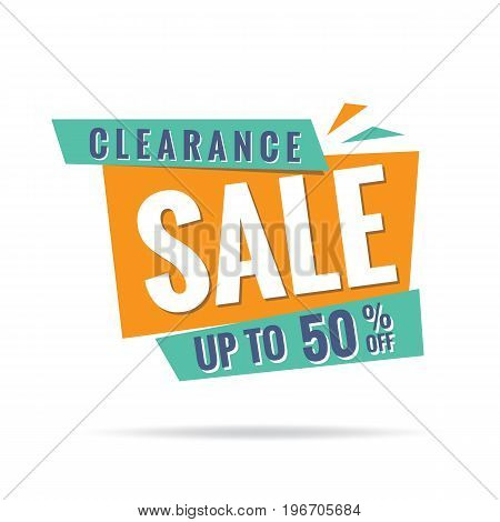 Vol. 3 Clearance Sale Green Orange 50 Percent Heading Design For Banner Or Poster. Sale And Discount