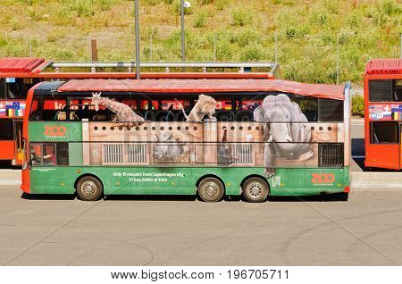 Copenhagen, Denmark-July 15, 2017: Hop on hop off sightseeing busses at Copenhagen harbor ready to take tourists around the city