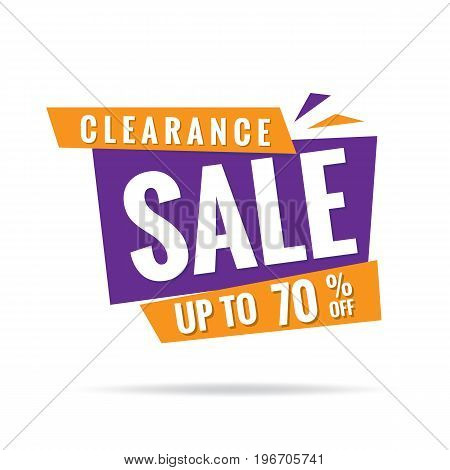 Vol. 3 Clearance Sale Orange Purple 70 Percent Heading Design For Banner Or Poster. Sale And Discoun
