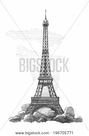 Eiffel Tower Paris. Graphic linear tonal drawing by slate pencil. Isolated on white background