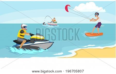 Jet ski water extreme sports, isolated design element for summer vacation activity concept, cartoon wave surfing, sea beach vector illustration, active lifestyle adventure.