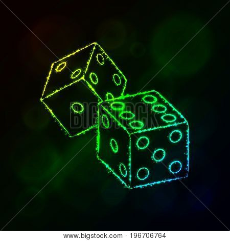 Dice icon. Two game dices, casino symbol lights silhouette design on dark background. Vector illustration. Glowing Lines and Points. Gradient color.