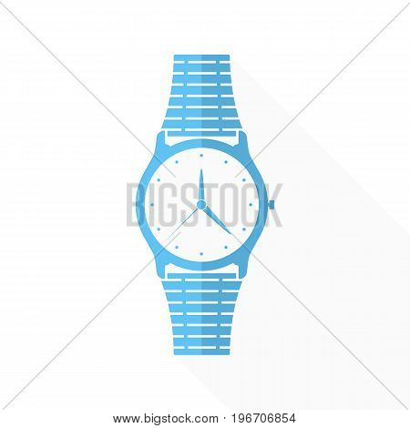Wristwatch icon with arrows in flat design. Vector illustration. Blue wristwatch icon with long shadow on white background.