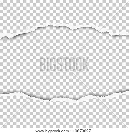 Snatched middle of paper with torn edges soft shadow and space for text. Damaged sheet of paper with transparent background for ad and other aims. Template paper design.