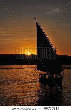 Feluka ride at sunset in Aswan, Egypt