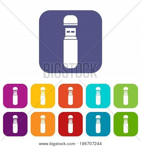 USB flash drive icons set vector illustration in flat style in colors red, blue, green, and other