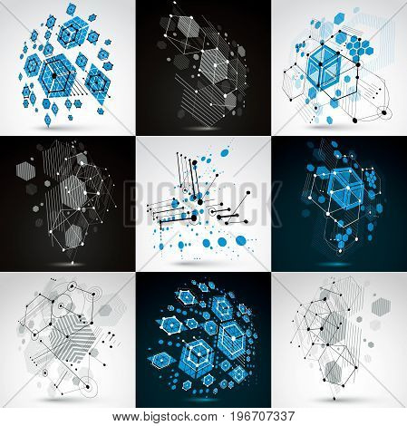 Set of Bauhaus retro art vector backgrounds made using grid and hexagons. Geometric graphic 1960s illustrations can be used as booklet cover design.