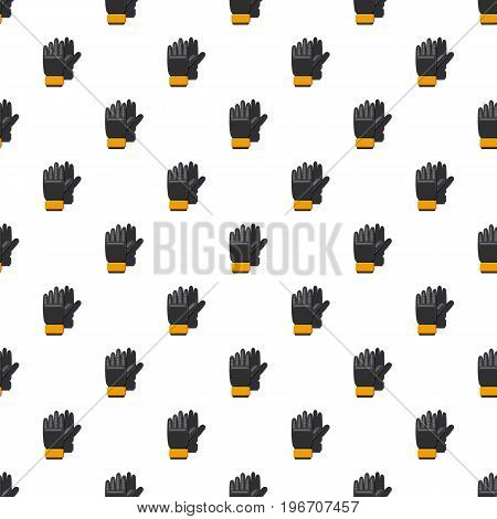 Black soccer gloves pattern seamless repeat in cartoon style vector illustration