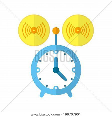Alarm or clock icon with arrows in flat design. Vector illustration. Colored clock icon with long shadow on white background.